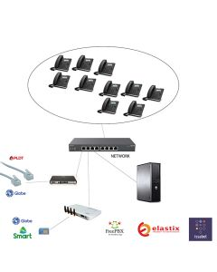4 Landline 4 GSM 10 IP phone 1 Server